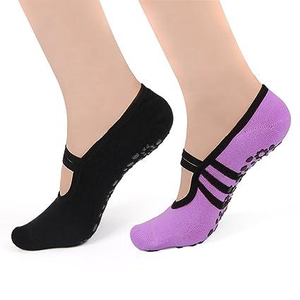 HARAVAL para Mujer Yoga Calcetines Antideslizantes para Pilates Barre Calcetines con agarres Ballet Zapatos 2 Unidades