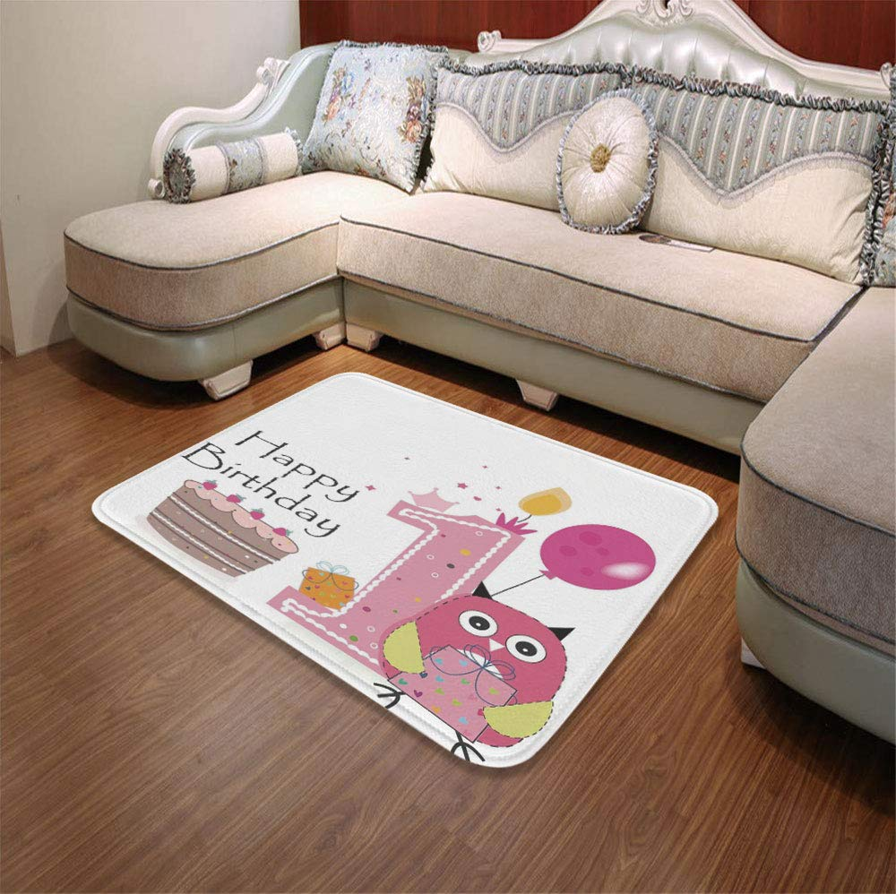 YOLIYANA Polyester Carpet,1st Birthday Decorations,for Meeting Room Dining Room,55.12'' x78.74'',First Birthday Cake Candle Sketchy Cartoon by YOLIYANA (Image #1)