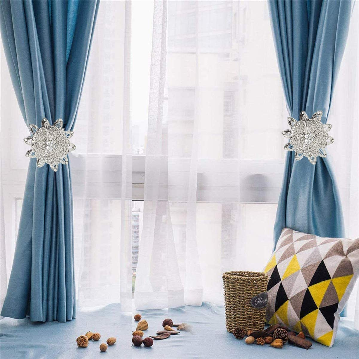 Home-Office-Schlafzimmer 2 Packungen Grau Pflaumenhaken Vorhang-Raffhalter starke Seilschnallen Magnetische Vorhang-Raffhalter dekorative R/ückhaltevorrichtungen mit strapazierf/ähigem Metall