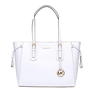 e4dd4acd0eb1 MICHAEL Michael Kors Women s Leather Voyager Medium Tote Bag White One Size