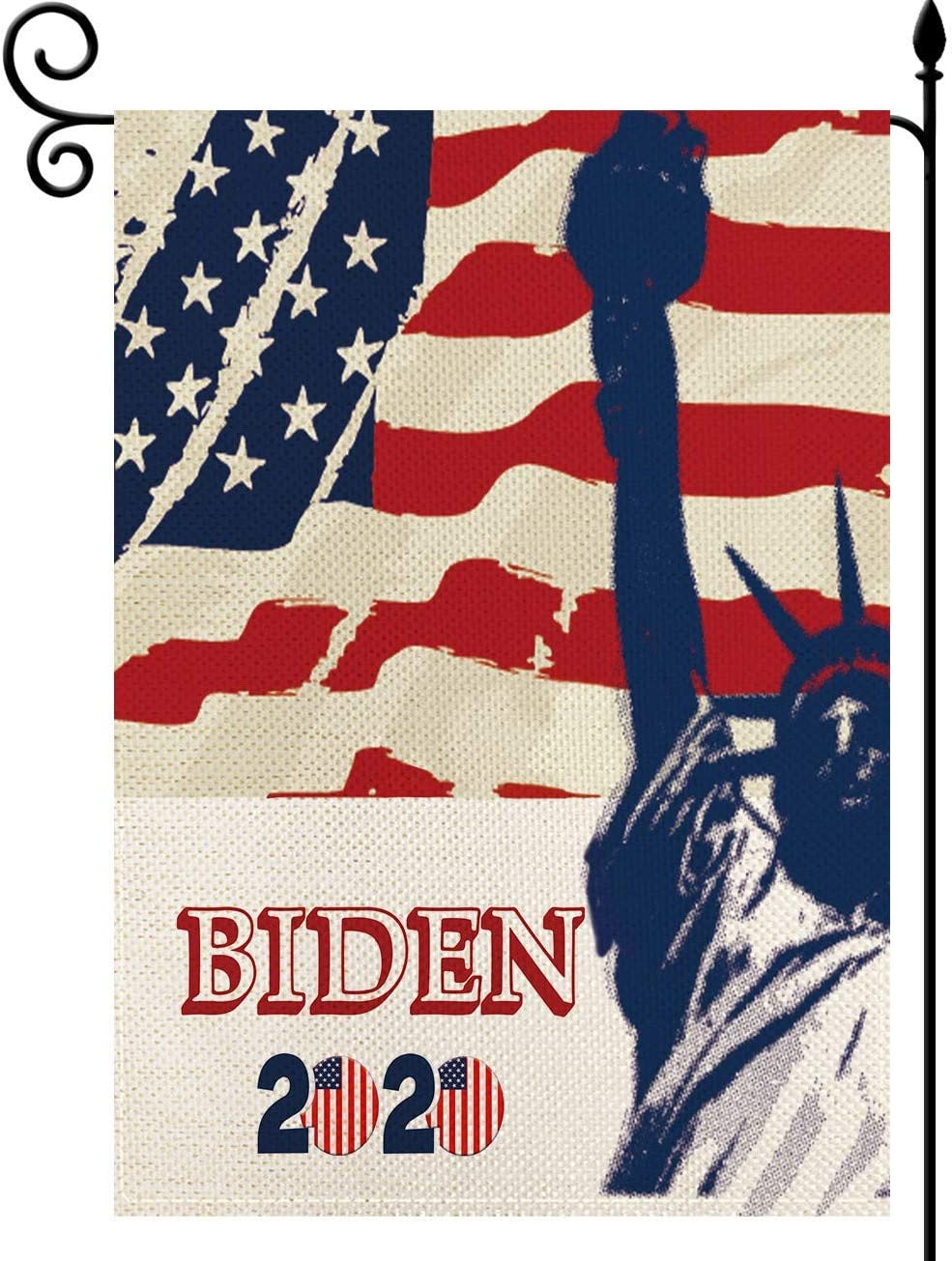YaoChong Joe Biden 2020 for President Election Statue of Liberty Small Garden Flag,Patriotic America Burlap Banner Home Outdoor House Decoration Double Sided 12.5 X 18 Inch