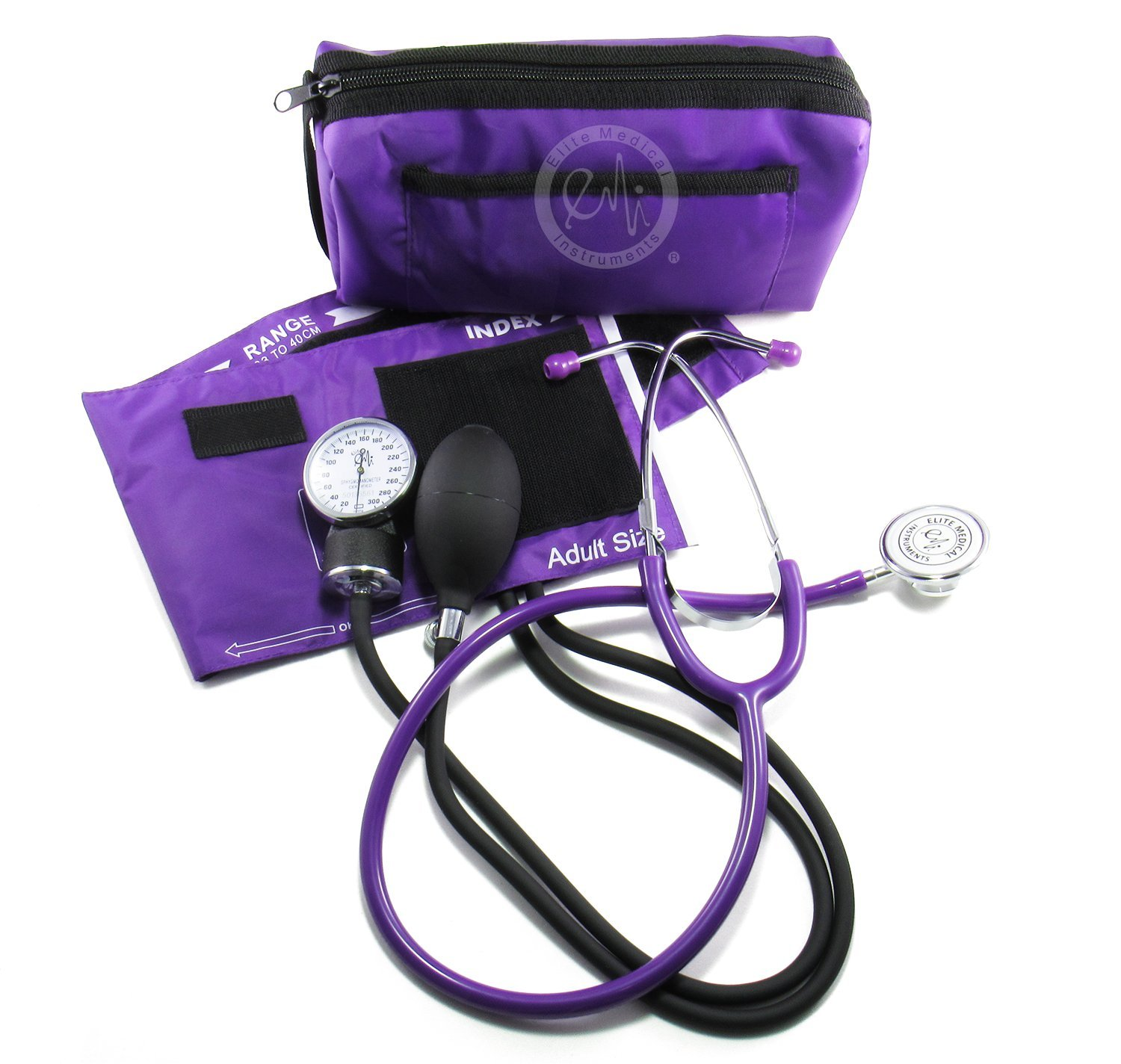 EMI #305 PURPLE Aneroid Sphygmomanometer Blood Pressure Monitor with Dual Head Stethoscope Set Kit