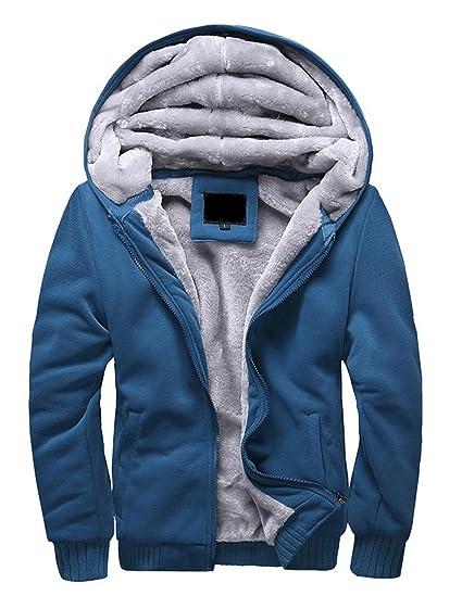 7a612cf38d4d Minetom Homme Hiver Chaud Polaires Doublé Sweats à Capuche Cotton Manteaux  Doux Blousons Sweat-shirts