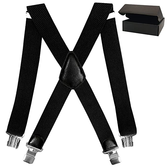 New Adjustable Men Trouser Suspender Clip on Elastic Unisex Wide Black Hot WT
