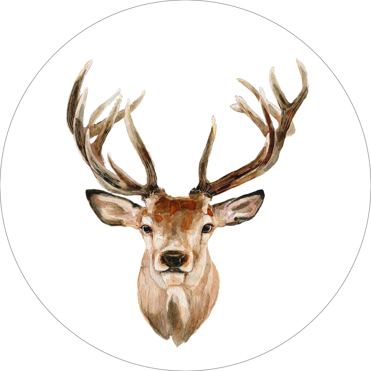 Buck Deer Home Wall Shelf Decor Animal Decorations Watercolor Round Sign - 18 Inch, Metal