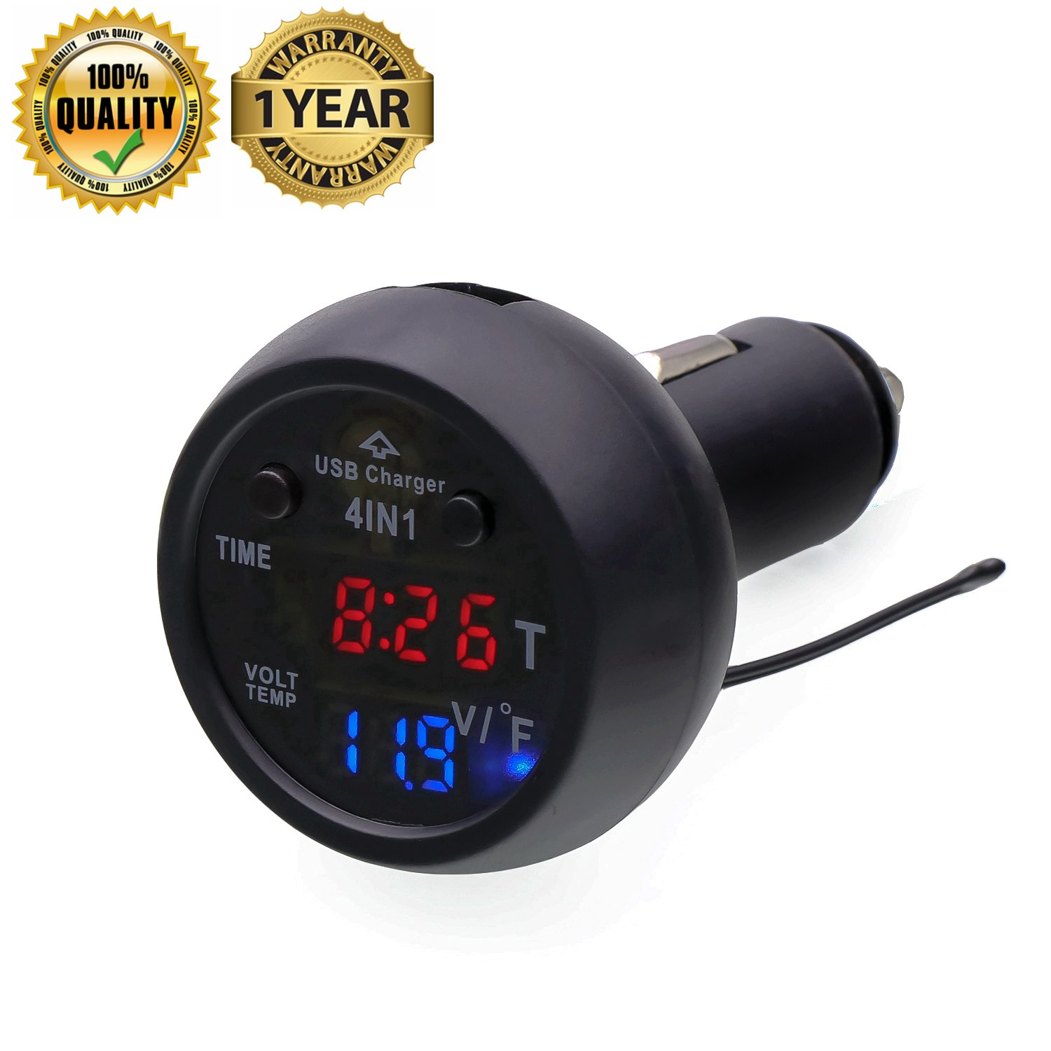 High Quality Car Usb Charger 21athermometerbattery Monitor Battery For 12v Voltmetercalendar