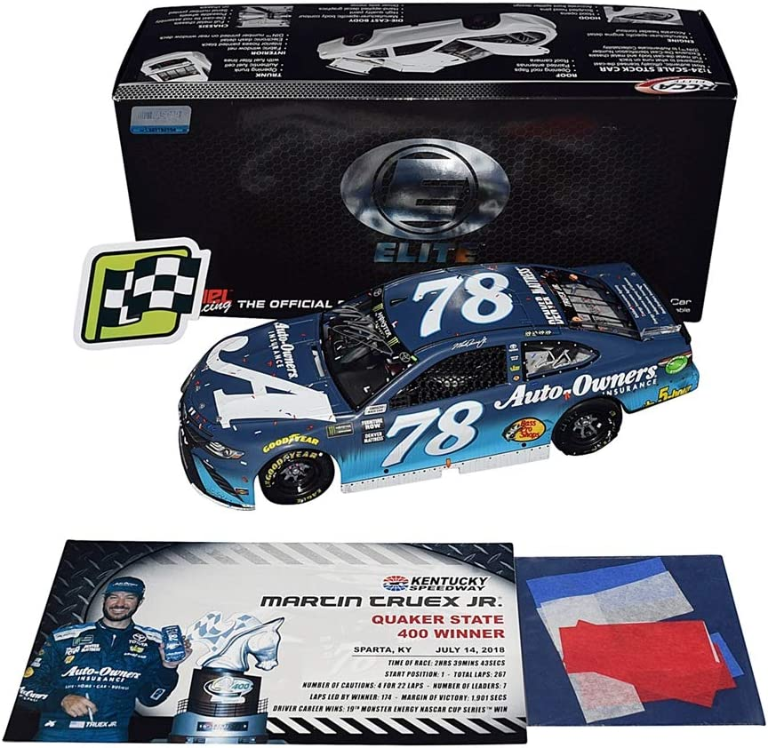 AUTOGRAPHED 2018 Martin Truex Jr. #78 Auto-Owners Team KENTUCKY SPEEDWAY WIN (Raced Version with Confetti) Furniture Row Racing Signed RCCA ELITE 1/24 NASCAR Diecast Car with COA (#136 of only 143!)