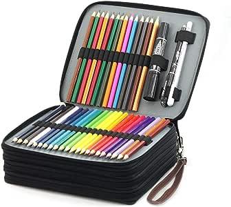 Laconile - Estuche organizador de lápices de colores para estudiantes, de piel sintética, 168 ranuras de gran capacidad, con asa y correa para el asa, color marrón: Amazon.es: Juguetes y juegos
