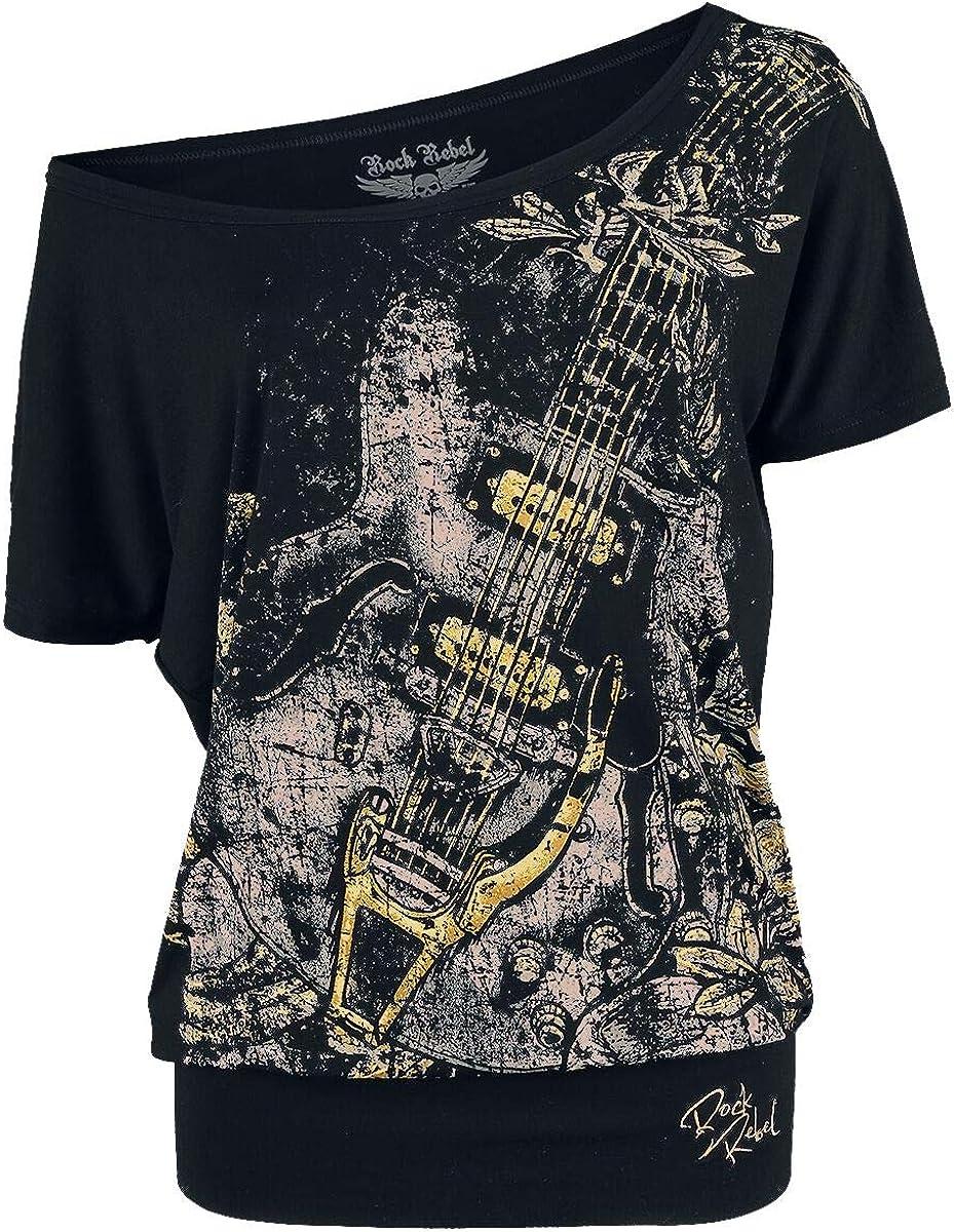 Rock Rebel by EMP Can You Read My Mind Mujer Camiseta Negro, Stickerei Ancho: Amazon.es: Ropa y accesorios