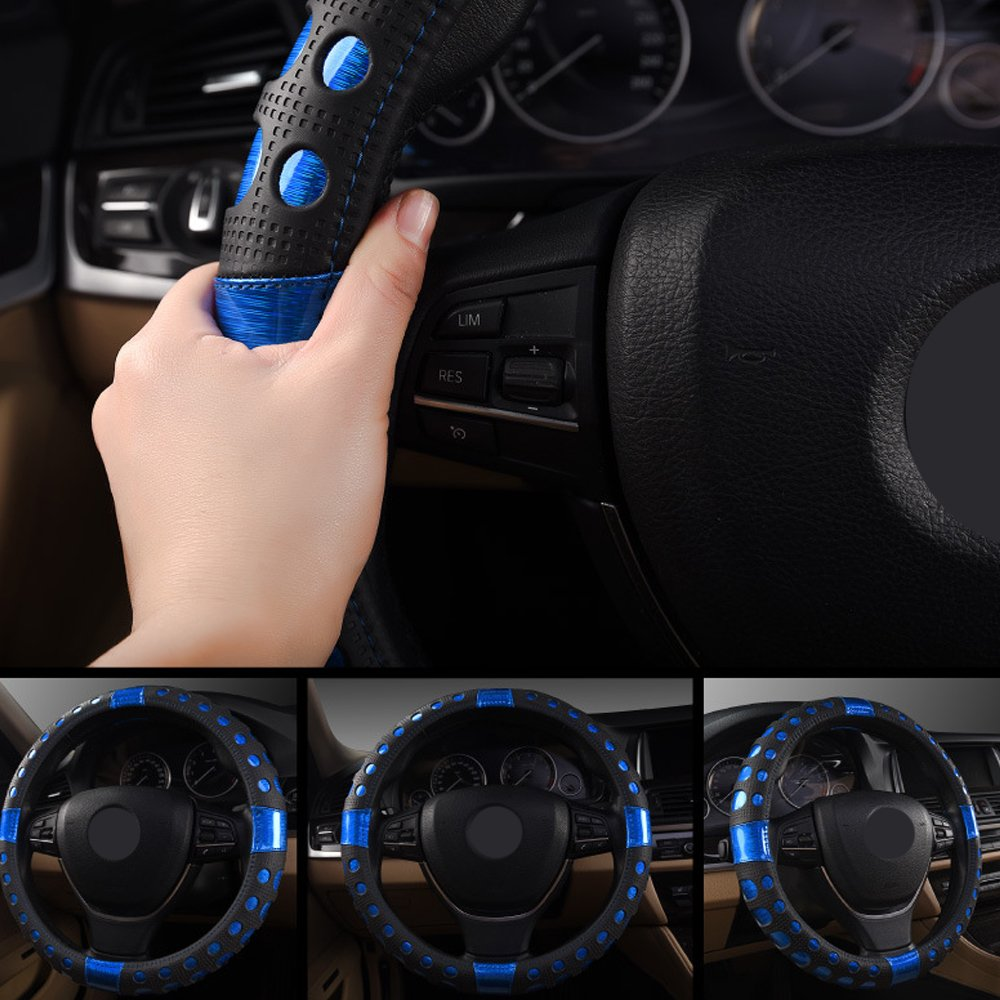 Universal Fit Leather Car Steering Wheel Cover 38CM//15 Anti Slip Breathable Protector Heavy Duty Laser Brushed Auto Accessory Year Round Use for Truck SUV Blue
