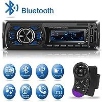 1 Din Autoradio Bluetooth, Kakanuo Radio Stéréo Voiture, 2 Ports USB Charger Téléphone&USB Clé, Card Slot SD/MMC Max 32G Mémoire, Lecteur FM/MP3/USB/SD/WMA/AUX Télécommande, 7 Couleurs d'Eclairage