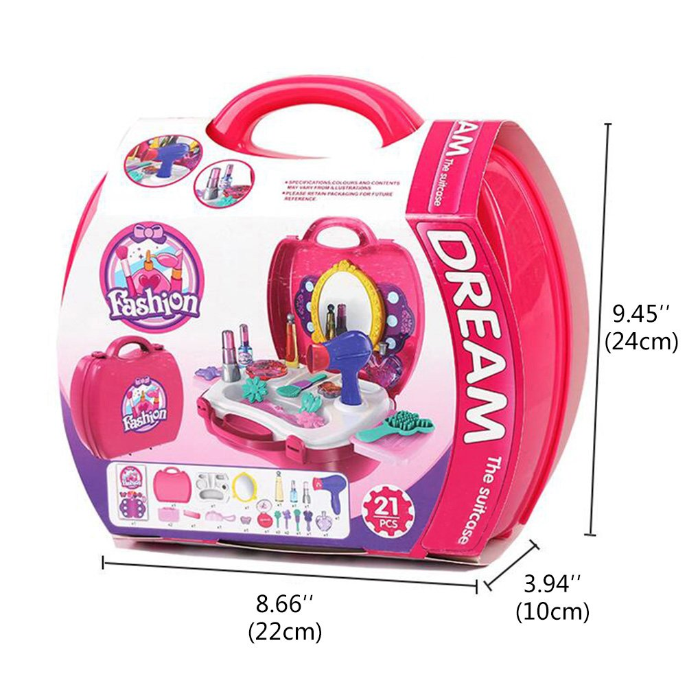 Amazon: BOWA Pretend Play Makeup Vanity Set Little Girls Princess  Fashion Toy 21 Pcs With Carry Case Birthday Gift For Kids Above 3 Years  Old: Toys &