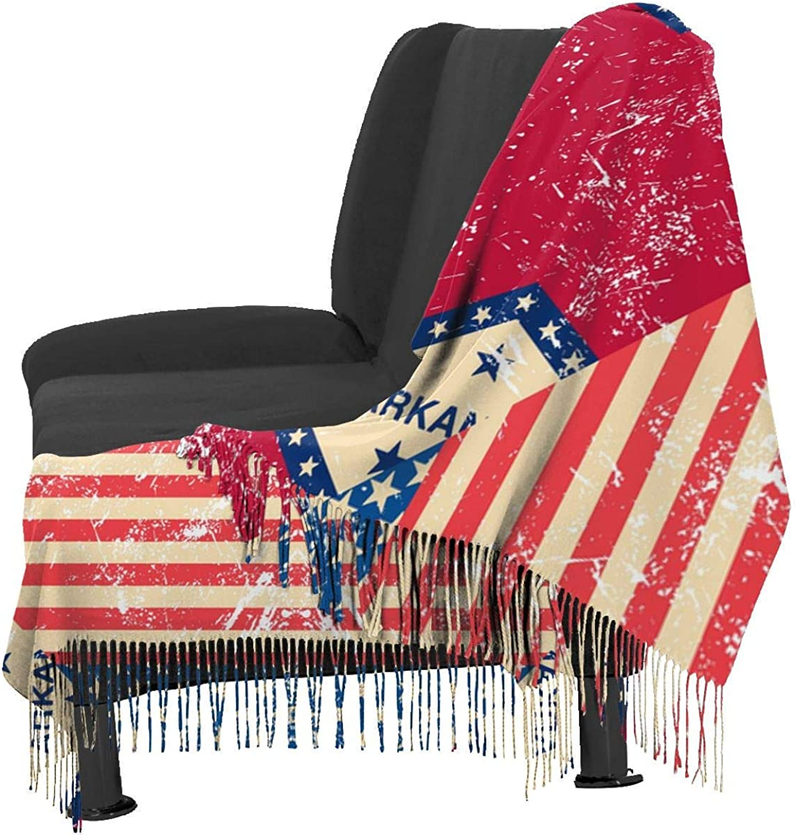 Retro USA and Arkansas State Flag Cashmere Scarf Shawl Wraps Super Soft Warm Tassel Scarves For Women Office Worker Travel