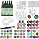 UV Epoxy Resin Jewelry Making Kit Non-Toxic, 5X Cristal Epoxy Clear 30ml + 10x Silicone Molds + 100x Screws Eyelets for Pendants Necklaces + Tweezers + 6 Decorations