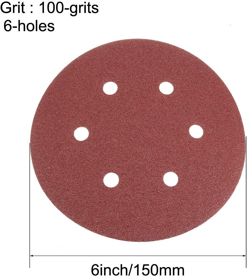 sourcing map 6 Inch 6 Holes 2000 Grits Hook and Loop Sanding Discs Abrasive Aluminum Oxide Sandpaper for Orbital Sander 15pcs