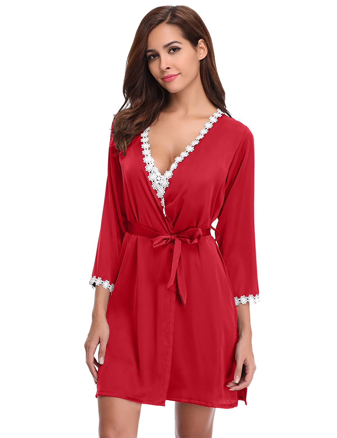 87dc7146c1 Aibrou Womens Satin Sleepwear 2 Piece Set Lace Cami Nightgown and Robe  (Red, Small) at Amazon Women's Clothing store: