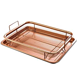 Copper Crisper Oven Air Fryer – Non Stick Crisper Tray Copper Basket Air Fryer