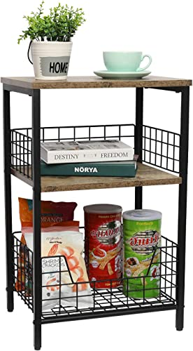 End Table,Industrial Retro Side Table Nightstand Storage Shelf