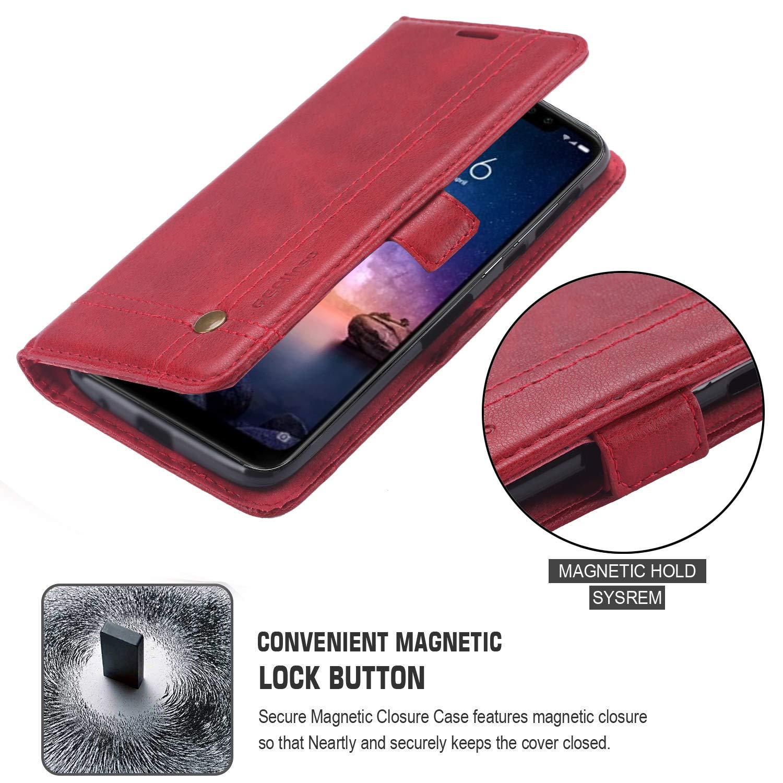 Ferilinso Funda para Xiaomi Redmi Note 6 Pro,Carcasa Cuero Retro Elegante con ID Tarjeta de Cr/édito Tragamonedas Soporte de Flip Cover Estuche de Oro Rosa