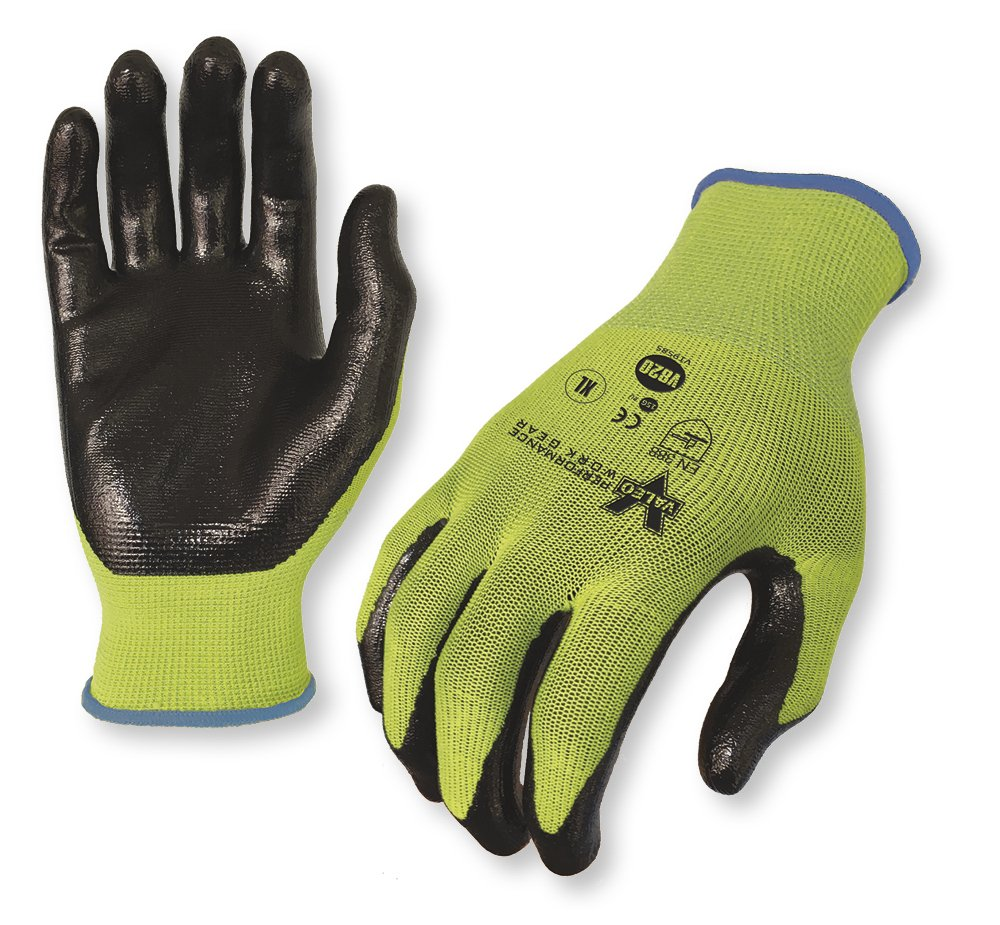 Valeo Industrial VI9585LG Work Gloves,45% Nylon/55% Nitrile, Large, Green (Pack of 12 Pairs)