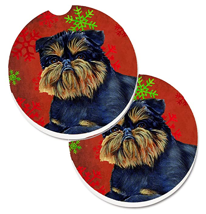 Multicolor 2.56 Carolines Treasures Brussels Griffon Red /& green Snowflakes Holiday Christmas Set of 2 Cup Holder Car Coasters LH9343CARC