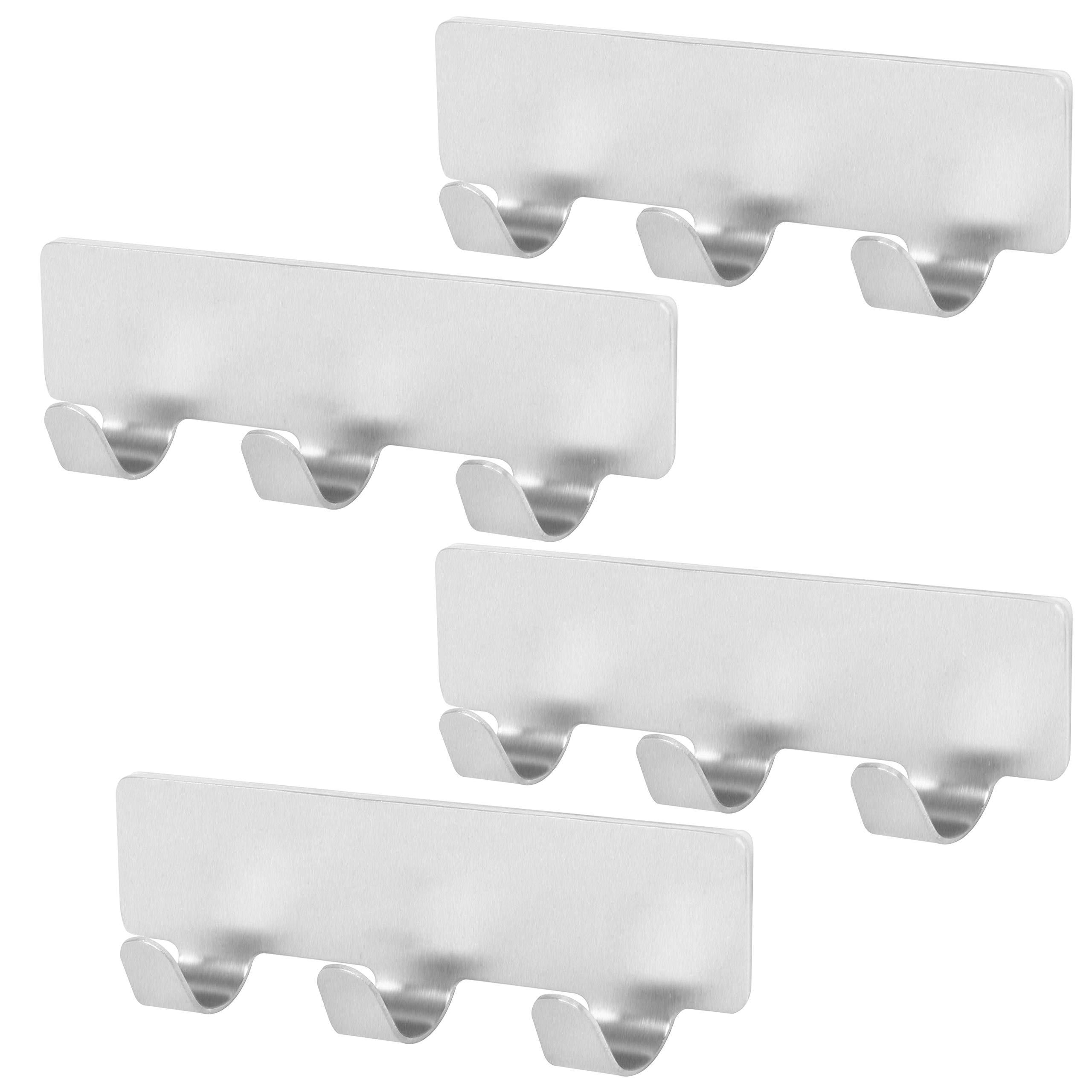 WEBI Adhesive Key Hooks Ultra-Strong, Rust-Resist, Waterproof, 3-Hook Utility Hook, Stick Wall Hanger Holder for Keys, Clothes, Towel, Hats, Scarves, Purse - Stainless Steel, Satin, 4 Packs (TG03-4)