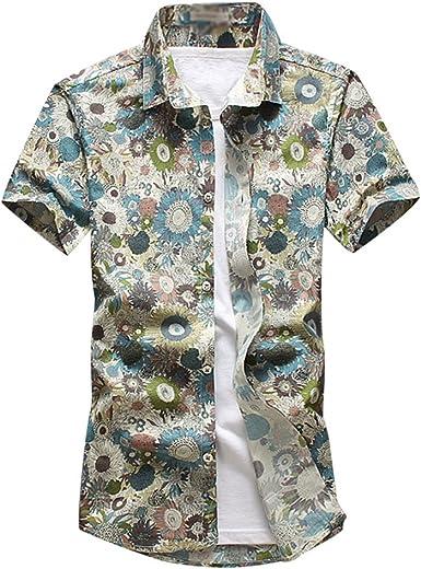 YuanDian Hombre Verano Casual Hawaianas Camisas Tallas Grandes Slim Fit Manga Corta Tropical Aloha Funky Hawai Floral Estampad Blusas De Playa Camisetas: Amazon.es: Ropa y accesorios