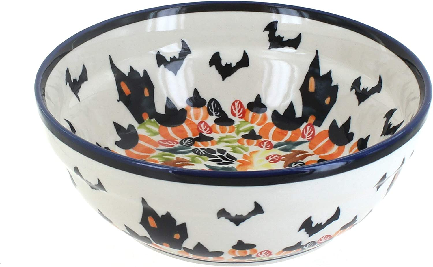Amazon Com Blue Rose Polish Pottery Haunted House Cereal Soup Bowl Cereal Bowls