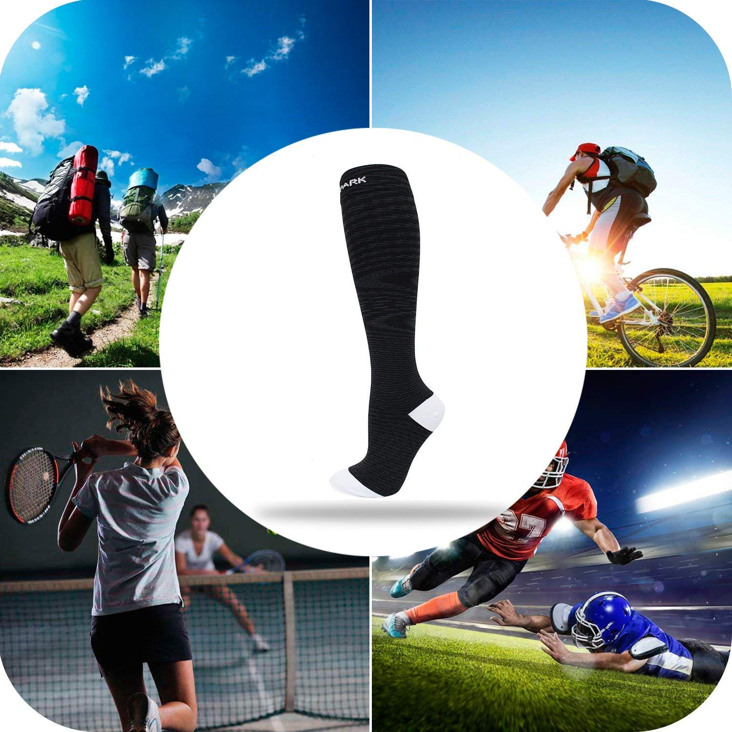 Amazon.com: SOCKSPARK Compression Socks Reduce Fatigue Pain Swelling Injury Recovery Knee High Sock for Running Fitness Nursing 15-20 mmHg: Health ...