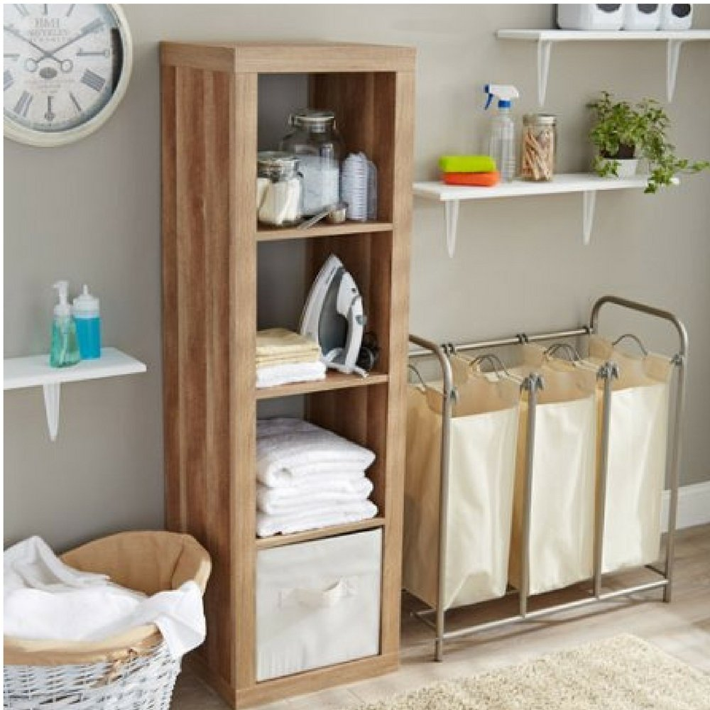 Better Homes and Gardens 4-Cube Organizer Storage Bookcase Bookshelf White Weathered