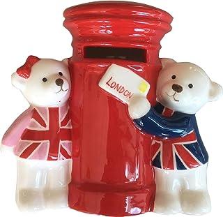 Glorious Britain Salvadanaio 3D con cassetta delle lettere e orsetti Jack & Jill con la bandiera del Regno Unito, souvenir di Londra