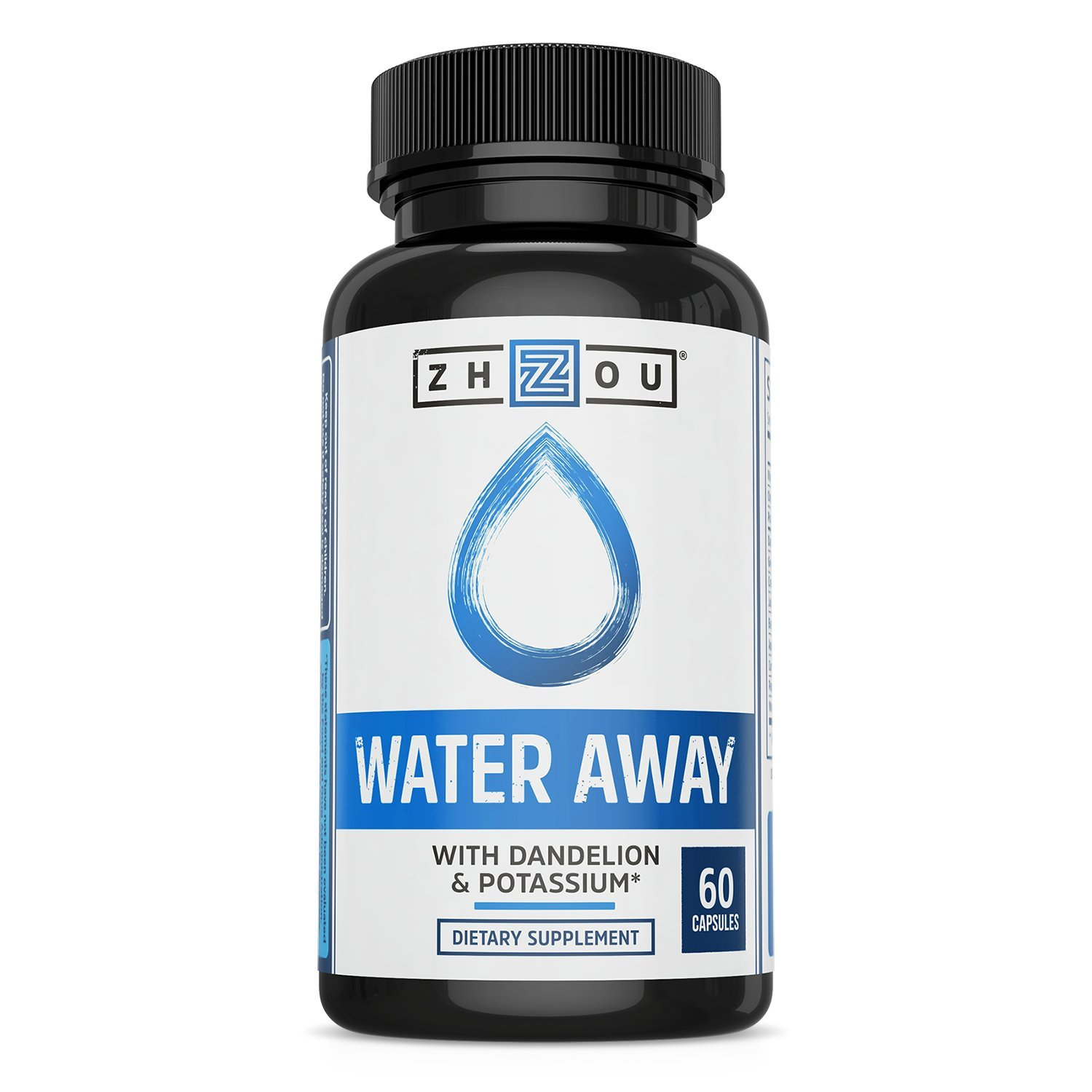 WATER AWAY Herbal Formula for Healthy Fluid Balance - Premium Herbal Blend with Dandelion, Potassium, Green Tea & More - 60 capsules by Zhou Nutrition