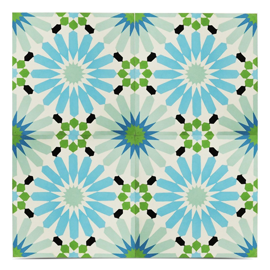 Moroccan Mosaic & Tile House CTP54-06 Alhambra 8x8 Inch Handmade Cement Tile in Multicolor (Pack of 12)