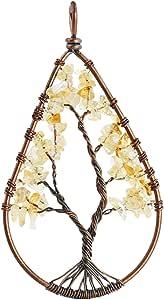 SUNYIK Tumbled Stone Tree of Life Teardrop Pendant Necklaces for Unisex