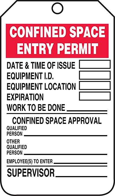Pack of 5 Accuform TCS323PTM RP-Plastic Confined Space Tag Red//Black on White LegendConfined Space Entry Permit 5.75 Length x 3.25 Width x 0.015 Thickness