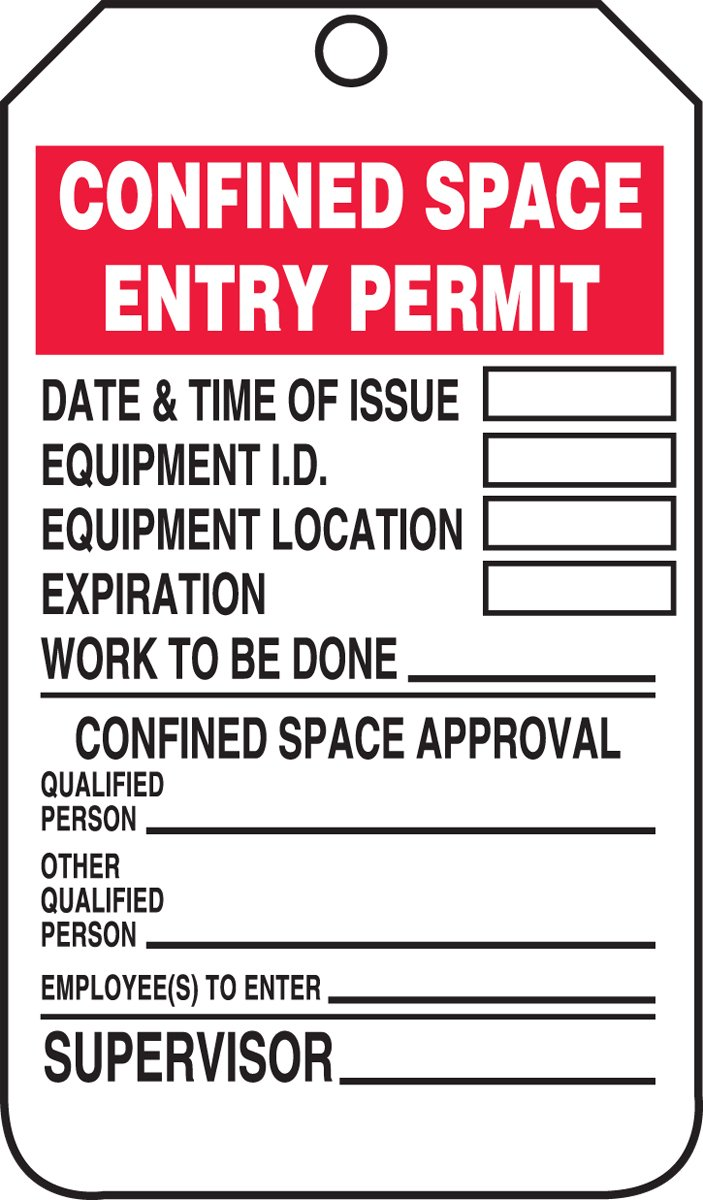 Accuform Signs TCS323CTP Confined Space Status Tag, Legend''CONFINED SPACE ENTRY PERMIT'', 5.75'' Length x 3.25'' Width x 0.010'' Thickness, PF-Cardstock, Red/Black on White (Pack of 25)