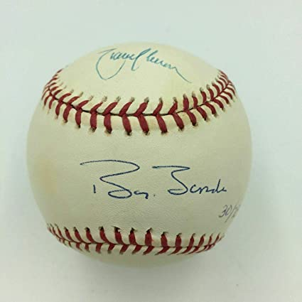 dd64a540695 Rare Barry Bonds   Randy Johnson Signed Career STAT MLB Baseball With COA -  JSA Certified