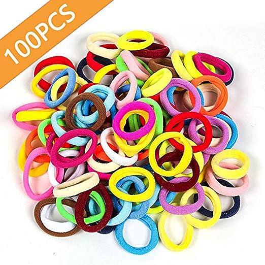100 Mixed Color Strong Elastic Hair Band Rope Ponytail Holder Hair Ties Girl