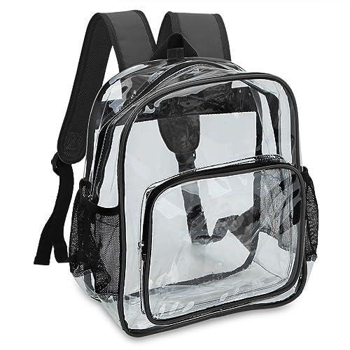 Mochila transparente para mujer con bolsa principal, bolsillo delantero y 2 bolsillos laterales de malla.