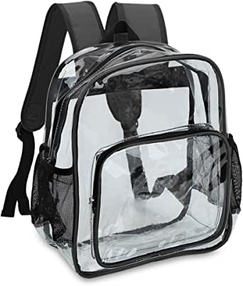 Zicac Clear Stadium Approved Mini Backpack For School Adjustable Daypack Transparent Backpack See Through Backpack Clear Bag With Mesh Side Pockets