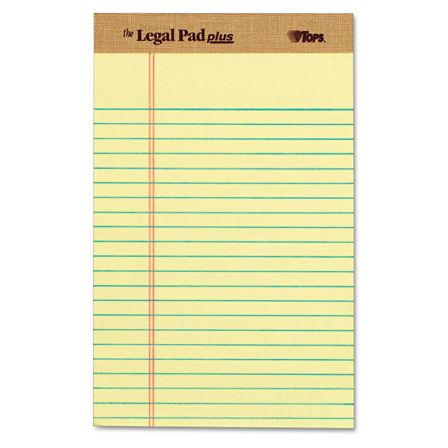 TOPS The Legal Pad Plus Writing Pads, 5'' x 8'', Jr. Legal Rule, Canary Paper, 50 Sheets, 12 Pack (71501)