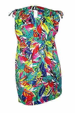 1b2745d4cbec2 Lauren Ralph Lauren Women's Plus Size Rainforest Farrah Dress Cover-Up  Multicolor Swimsuit Top
