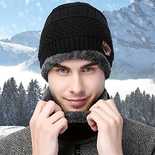 Czemo Winter Thick Knitted Hat and Scarf Set Mens 2-Pieces Warm Knit Circle Scarf Thick Knit Cap Warmer Set for Indoors and Outdoor Sports Black