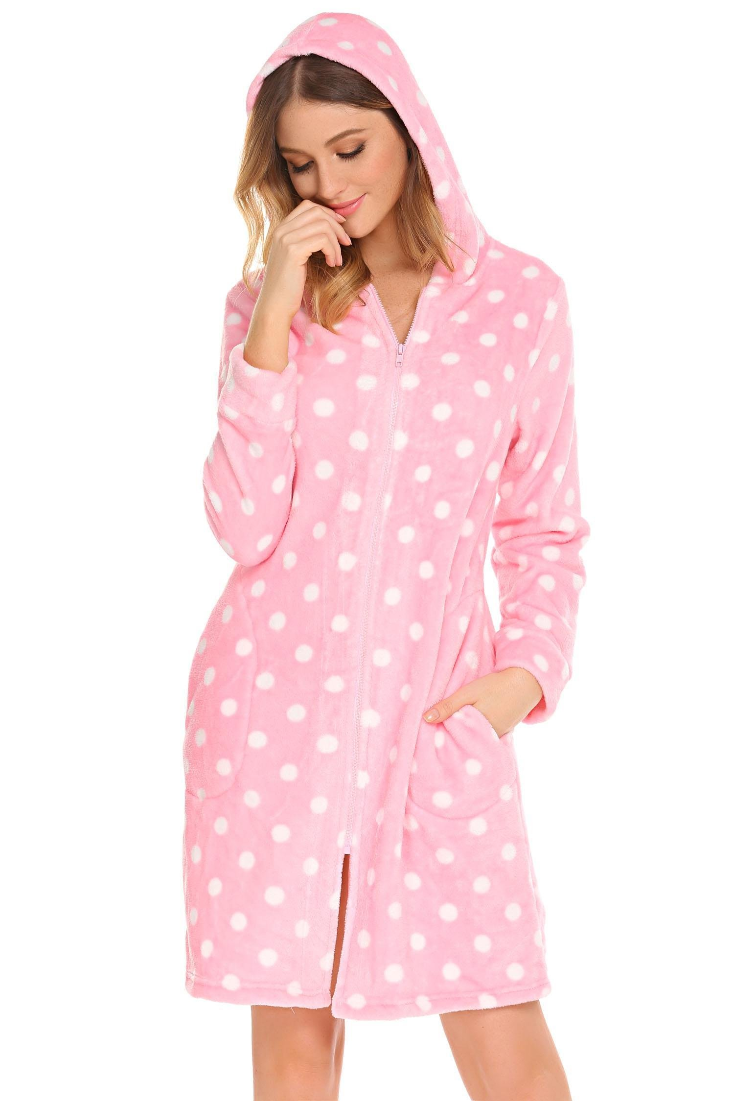 Vansop Long Sleeve Zippered Terry Robe Soft Bathrobe House Coat, Pink, XL