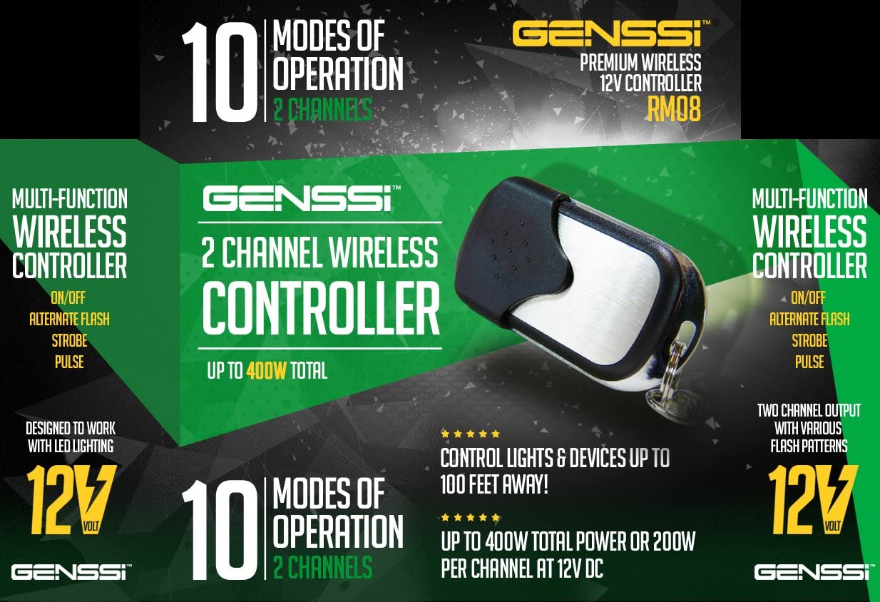 GENSSI Wireless 12V 2-Channel High Power Transmitter /& Receiver On//Off Strobe Flash Pulse LED Light Bars