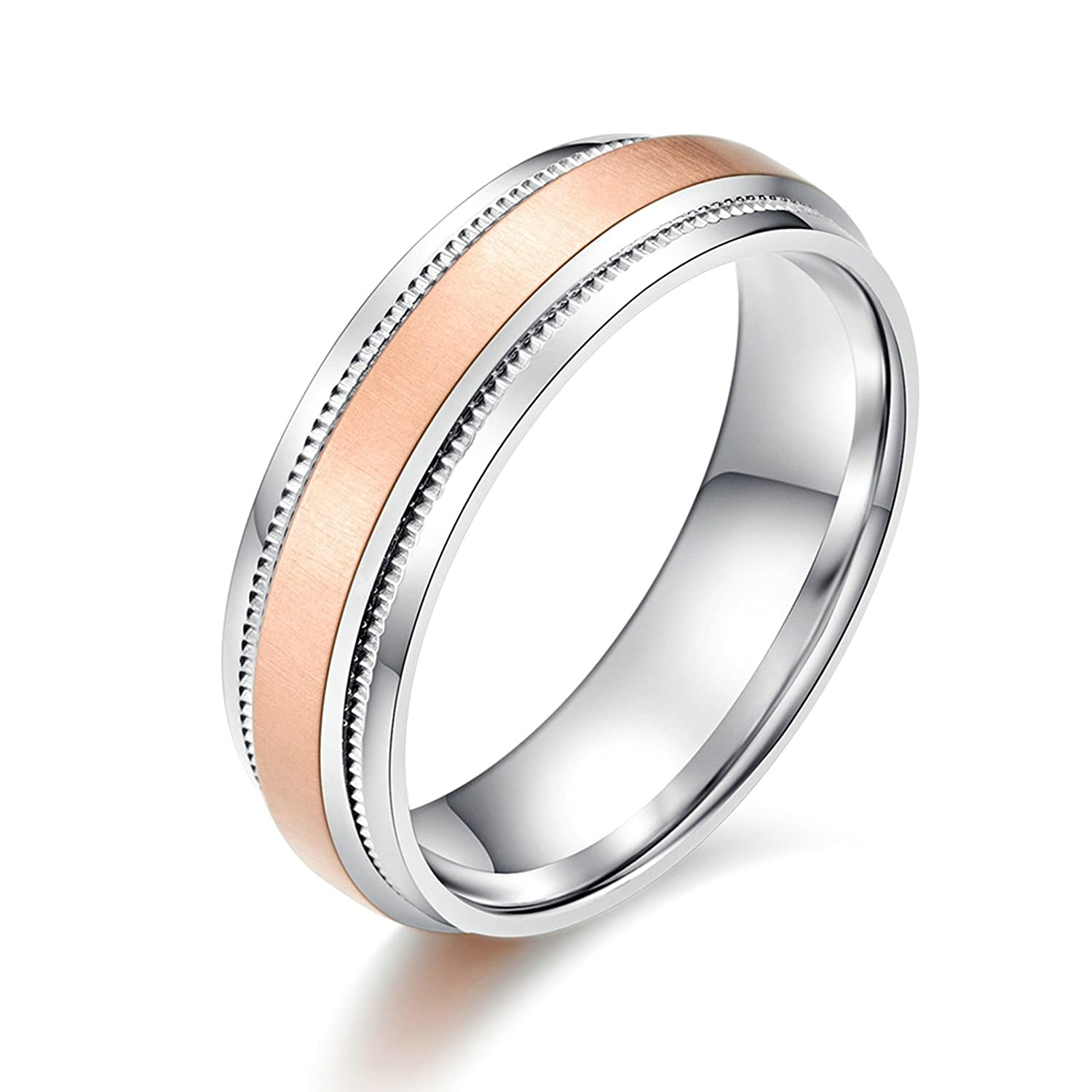 Bishilin Mens Rings Punk Highly Polished Round 6.2 Mm Ring Stainless Steel Wedding Band Size 10