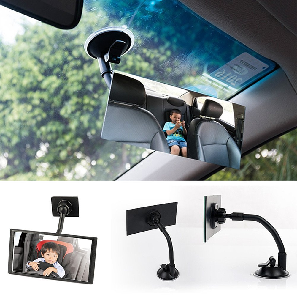 Moyishi Blind Spot Adjustable Baby Car Mirror 360° Rotate Suction Cup Long Arm Rear Facing Mirror For All Universal Vehicles Car Fit (Square)