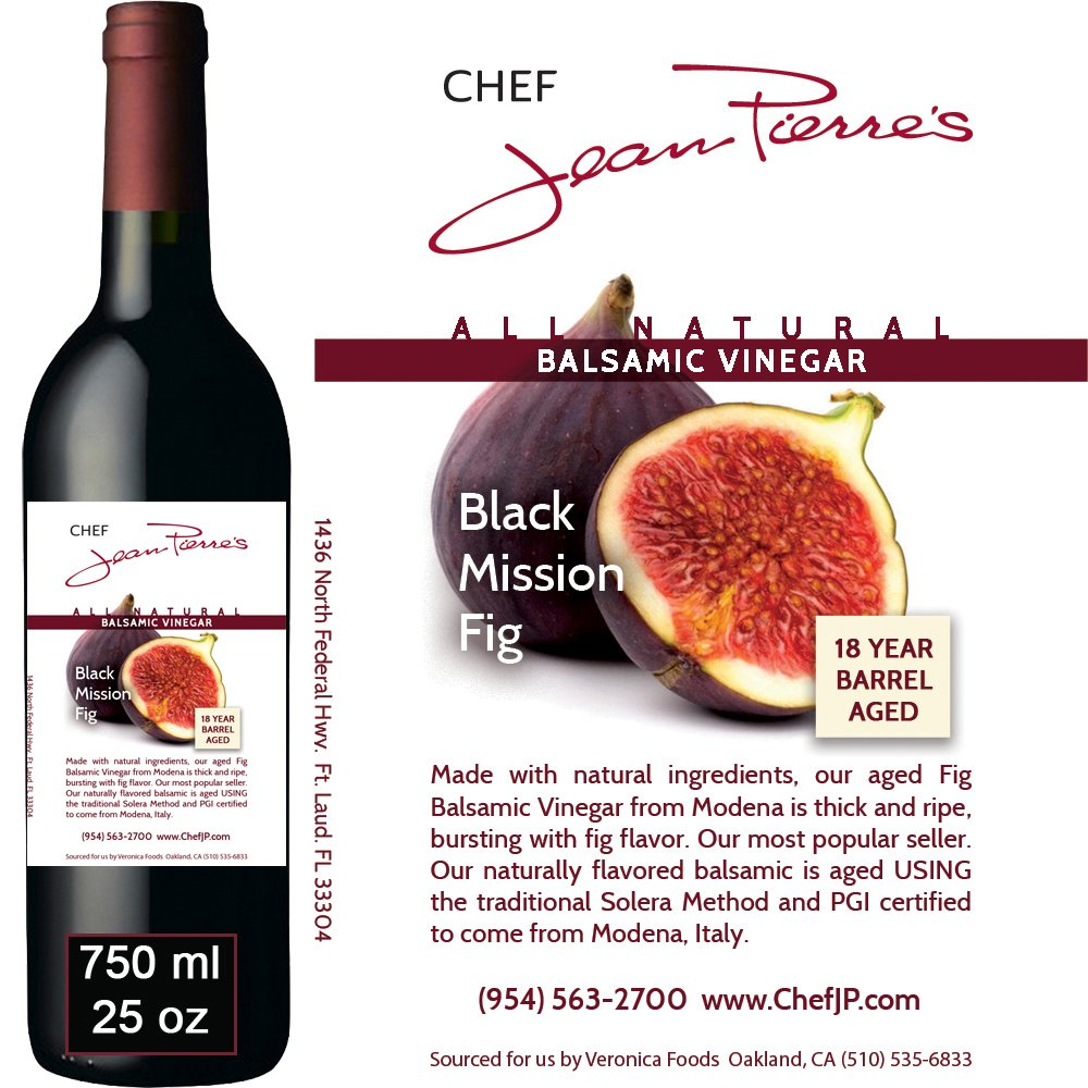 Black Mission Fig Aged 18 Years Italian Balsamic Vinegar 100% All Natural 750ml (25oz) by Chef Jean-Pierre's