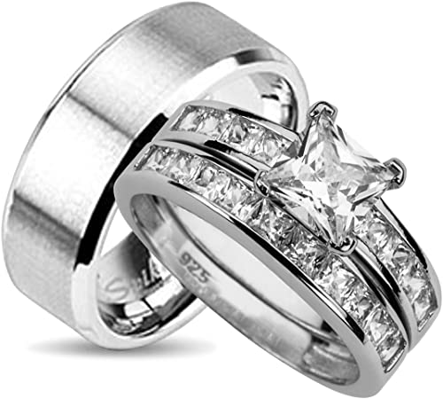 His And Her Wedding Ring Sets Matching Bands For Him And Her 10