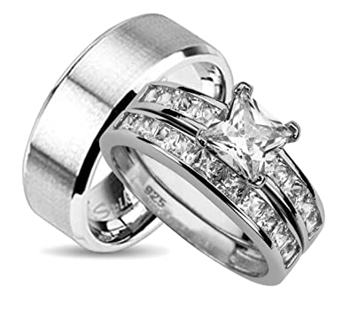Amazoncom His and Her Wedding Ring Sets Matching Bands for Him and